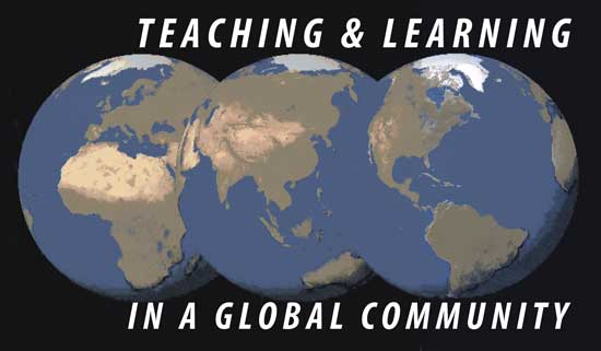 "graphic of 3 views of the globe showing different continents, with theme of summit ""Teaching & Learning in a Global Community"""