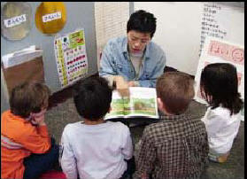 Photo of Mihoko Sensei teaching Japanese immersion class with K-1 students at John Stanford International School